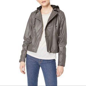YOKI Sherpa Lined Faux Leather Moto Jacket
